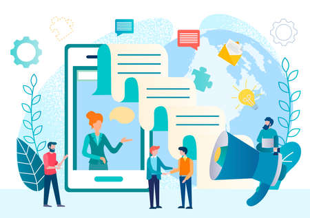 Working and chatting online using smartfon conceptual vector illustration. Coacher, head of business team on a smartphone screen and social media and business symbols, teamwork on startup