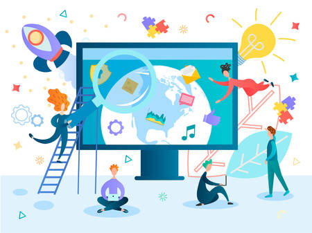 Studying, education, working and chatting online conceptual vector illustration. Planet earth on a computer monitor with social media and business symbols, office workers work as a team on a startup