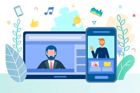 Mobile communication, Internet business, online negotiations, deal making and partnership Illustration