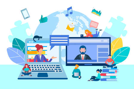 Online communication, negotiations via Internet connection, study and work from home office, online with the whole world vector illustration concept. Illustration