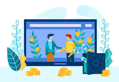 Signing a contract online, shaking hands with businessmen, safe Deposit box and gold coins as a symbol of a successful deal. Vector illustration of the concept of work from the home office. Иллюстрация