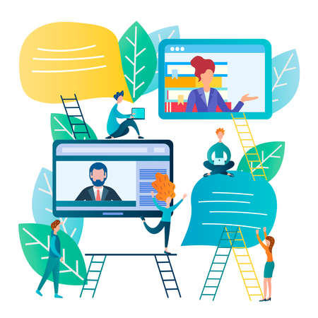 Online communication, negotiations using the Internet, people sign contracts and do business online. Vector illustration networking, business partnerships online.