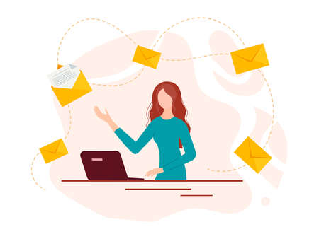 A young girl at a computer and envelopes with letters as a symbol of messages around. Internet communication, online mail. Vector illustration. Иллюстрация