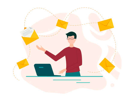 Young man at the computer and envelopes with letters as a symbol of messages around. Internet communication, online mail. Vector illustration. Иллюстрация