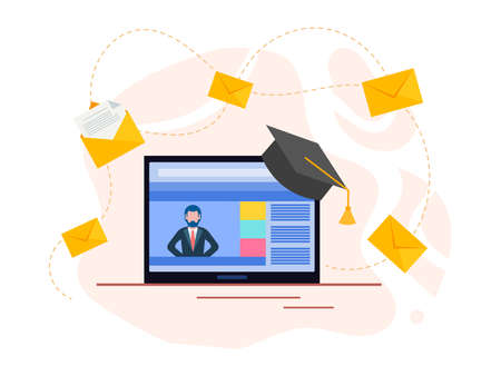 Course teacher on tablet screen, home distance learning. Online education. Vector illustration.