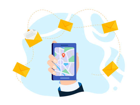 Hand of a businessman in a business suit with a mobile phone with map and geolocation icon. Vector illustration.