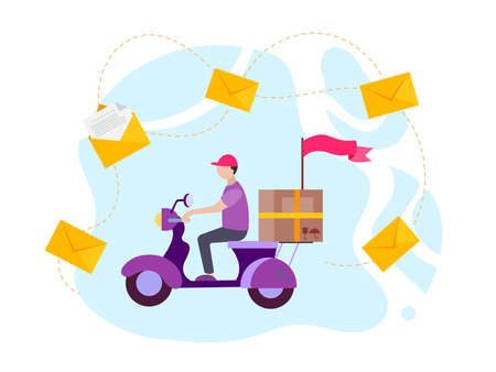 Delivery of goods and mail on a scooter, envelopes as symbols of messages and orders. Vector illustration Vettoriali