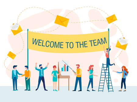 Welcome to team concept vector illustration. Office team at work on business projects, generating ideas. Иллюстрация