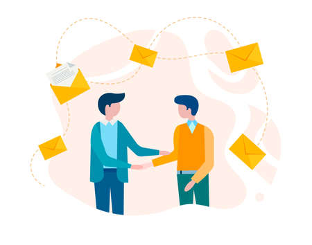 Businessmen shaking hands, concluding a deal, signing a contract concept vector illustration