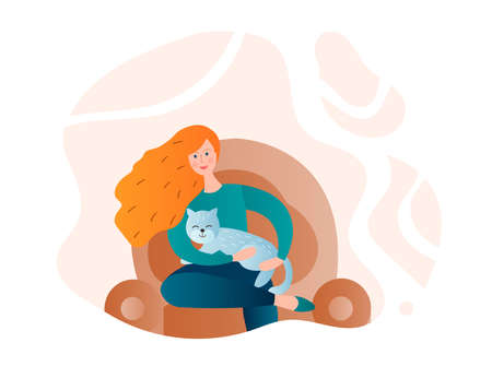 Girl with a cat in her arms on a home armchair Vector illustration
