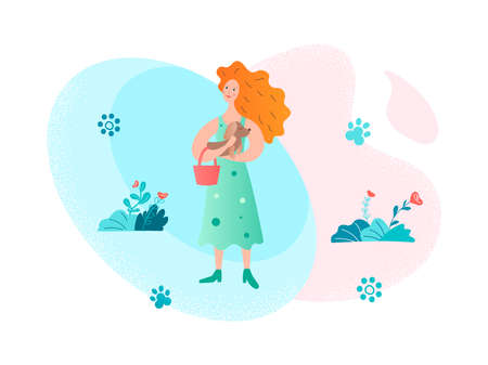 Girl in a summer dress in a dog and a handbag in hands on the nature among the flowers Vector illustration Иллюстрация