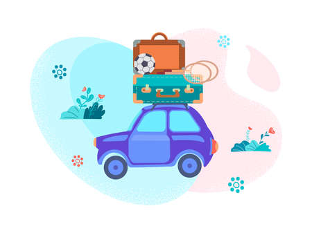 A car with luggage on the roof - a suitcase, badminton racket, soccer ball - goes on vacation in the background of the landscape