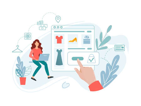 Online shopping, online payments, product delivery, online store app. A young woman buys clothes and other goods in an online store. Conceptual vector illustration.