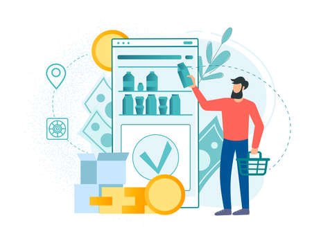 Online shopping, online payments, grocery delivery, grocery store online app. A young man buys food in an online store. Conceptual vector illustration.