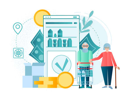 An elderly couple makes purchases in an online store online. Grocery shopping on the Internet concept vector illustration.