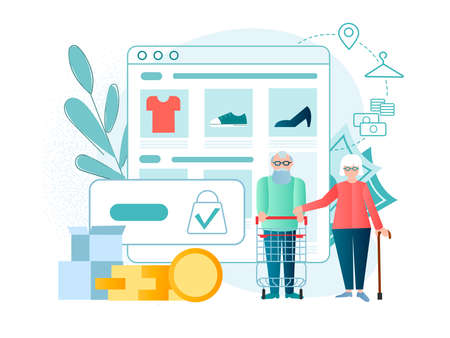 Elderly couple with a shopping basket, shopping trolley. Online shopping for older people Mobile application online clothing store, ordering, payment online and delivery Иллюстрация