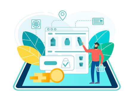 Online shopping concept. A young man with a shopping basket makes purchases in an online store online through a mobile application on a laptop Vector illustration