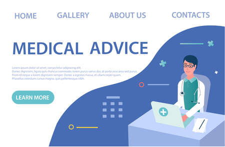 Banner Medical Advice concept Vector illustration Online doctor's appointment. Doctor help online Illustration