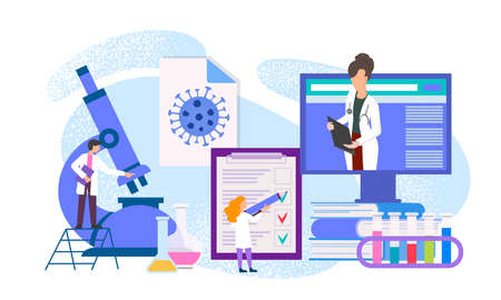 Virus detection, taking tests in a medical laboratory, consultation of doctors for diagnosis vector illustration Иллюстрация