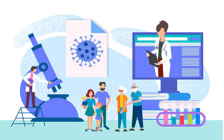 Concept family medical examination. virus detection, taking tests in a medical laboratory, consultation of doctors for diagnosis vector illustration Illustration