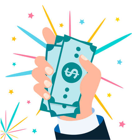 The hand of a man in a business suit holds a pack of dollars on the background of fireworks. Success, wealth, win concept vector illustration.