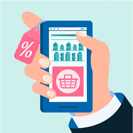 Discounts in the online food grocery store in the application on a mobile phone. Online shopping concept vector illustration.