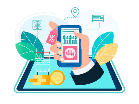 Online shopping at the grocery store through the application on the mobile phone or tablet. Electronic shopping on the Internet