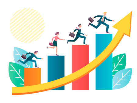 A team of businessmen runs up the columns of the graph of revenue growth, the concept of the desire for success, leadership, primacy vector illustration Illustration