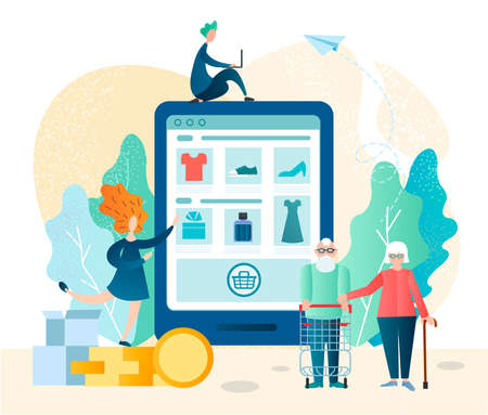 An elderly couple makes purchases online in an online store using electronic gadgets and mobile applications, successful online trading Vector illustration Иллюстрация