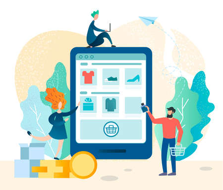 Shopping online in an online store using electronic gadgets and mobile applications, successful online trading, a man makes purchases in an online store. Vector illustration.