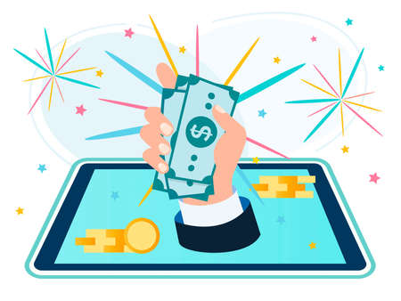 Hand of a businessman with a bundle of banknotes appearing from the tablet on the background of fireworks. Online business success concept, successful startup, win vector illustration