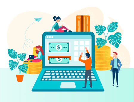 Online payment transaction through the Internet concept vector illustration. Money circulation in the network virtual space, electronic money, users of electronic gadgets make payments online for a successful business.