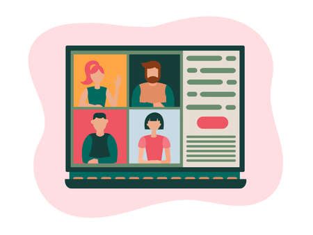 online webinar concept vector illustration meeting on the Internet communication, webinar, callquium, training, education, online courses, web educated