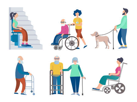 Set of vector illustrations of disabled people in wheelchairs, pensioners, people with disabilities, a blind man with a guide dog, caring for the elderly.