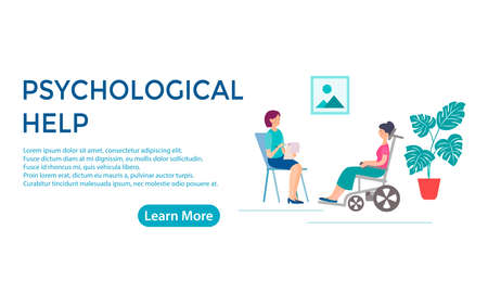 Banner concept of social and psychological assistance to people with disabilities. Woman with disabilities in a wheelchair at a reception at a psychologist.