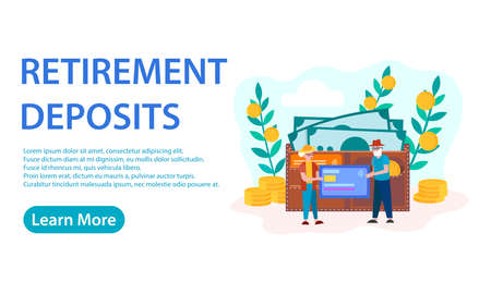 Banner Retirement Deposits Concept Vector Illustration. Retirement Investments. Pension Fund. An elderly couple of senior citizens with a credit card and a wallet with cash in the background.