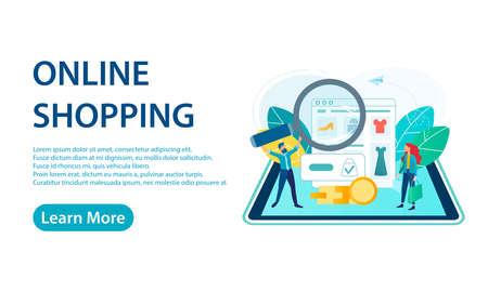 Banner Shopping Online on Website or Mobile Application Vector Concept Marketing and Digital marketing Illustration