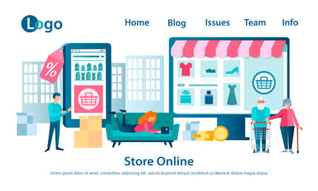 Banner Online Shop Concept Vector illustration People shop online with a clothing store, perfume and grocery store using web applications.