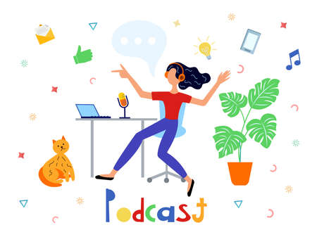 Podcast concept illustration.Tutorial podcast, webinar, online training, deejay podcast concept. A young girl records a podcast in front of a microphone at the home.
