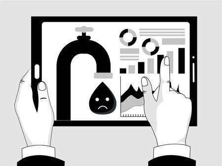 Monochrome, black and white vector illustration concept oil crisis, falling oil prices, economic crisis,  deal.