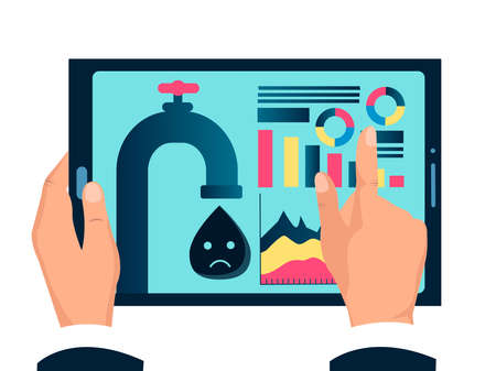 Oil crisis, drop in oil quotes,  deal, tablet with infographic of lower oil prices in the hands of a businessman. Vector conceptual illustration of an economic crisis. Illustration