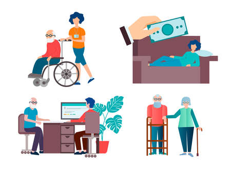 Help and support for sick, disabled, low-income people vector illustration