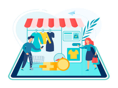 Online shopping concept vector illustration. A man and a woman make orders in the online clothing store using gadgets. Иллюстрация