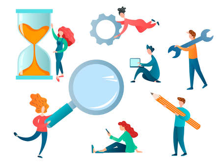 People in the process of work and training, a man with a laptop, with writing accessories, with an hourglass, magnifying glass, wrench. Office team concept vector illustration.