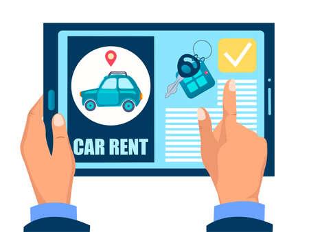 Car rent web site Online car rental, car rental site on an electronic gadget vector illustration