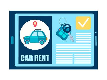 Online car rental, car rental site on an electronic gadget vector illustration