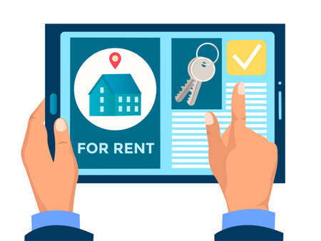 Real estate agency website on electronic gadget in the hands of a client vector illustration. Search for real estate online. Rent, sale and purchase of real estate
