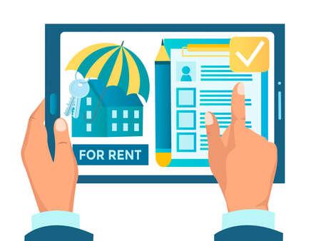 Rental real estate concept vector illustration, online realtor, rent an apartment online real estate agency