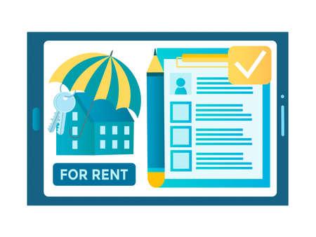 Online realtor, rent an apartment online, real estate agency, rental real estate concept vector illustration
