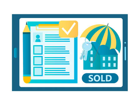 Online realtor, real estate agency, rent, buying and selling real estate concept vector illustration